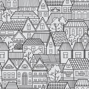 Modèle sans couture avec maisons et arbres.