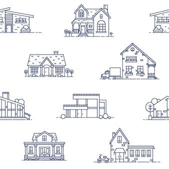 Modèle sans couture avec des maisons de banlieue dessinées avec des lignes de contour bleues sur fond blanc