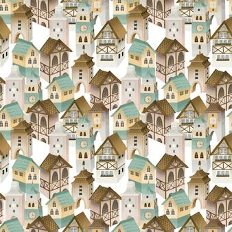 Modèle sans couture de maisons bavaroises, rue de la vieille ville allemande, peint à la main