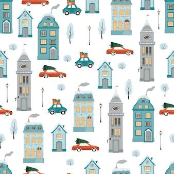 Modèle sans couture avec des maisons d'hiver de style plat.