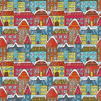 Modèle sans couture de maisons d'hiver