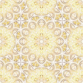 Modèle sans couture de mandala doré sur fond blanc.