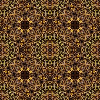 Modèle sans couture de mandala doré sur fond noir.