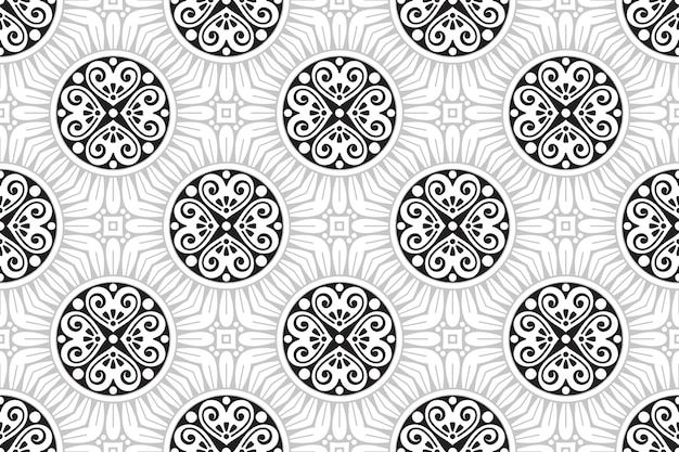 Modèle sans couture de mandala monochrome