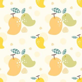 Modèle sans couture mangue jaune et verte.