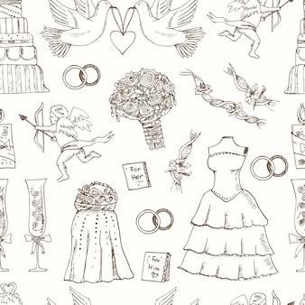 Modèle sans couture de mariage doodle