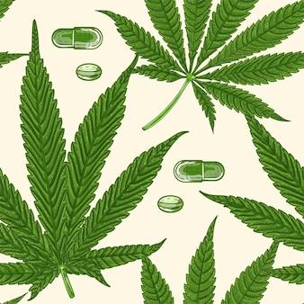 Modèle sans couture de marijuana de cannabis médical