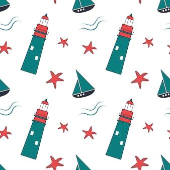 Modèle sans couture marin d'été avec des étoiles de mer de phares et des navires