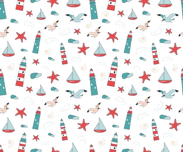 Modèle sans couture marin d'été avec des navires et des coquillages d'étoiles de mer de mouettes de phares