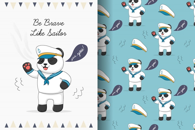 Modèle sans couture de marin panda mignon et paquet de cartes