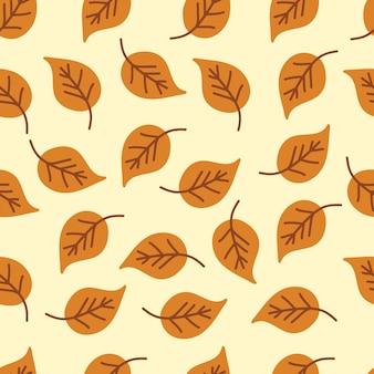 Modèle sans couture marron feuilles d'automne mignon