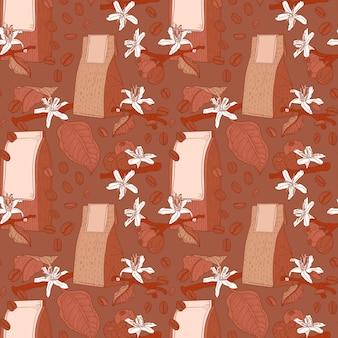 Modèle sans couture marron avec des fleurs de café, des haricots et des packs