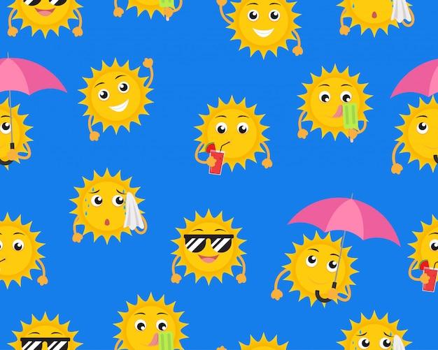 Modèle sans couture de mascotte soleil dessin animé dans une pose différente