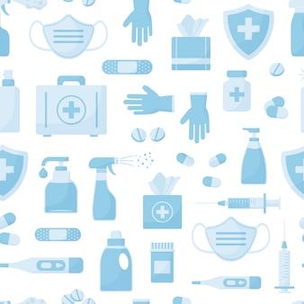 Modèle sans couture de médecine, objets bleus isolés sur fond blanc.