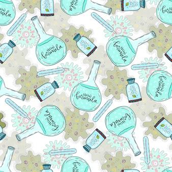 Modèle sans couture médicale avec des pilules, des flacons et des cellules bactériennes. illustration vectorielle