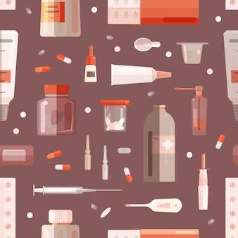 Modèle sans couture avec médicaments, mélanges en bouteilles, pilules en pots, tubes, seringues et autres outils médicaux sur fond bleu. illustration colorée de dessin animé plat pour impression textile, papier peint.