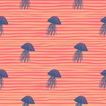 Modèle sans couture de méduses de couleur bleu marine.