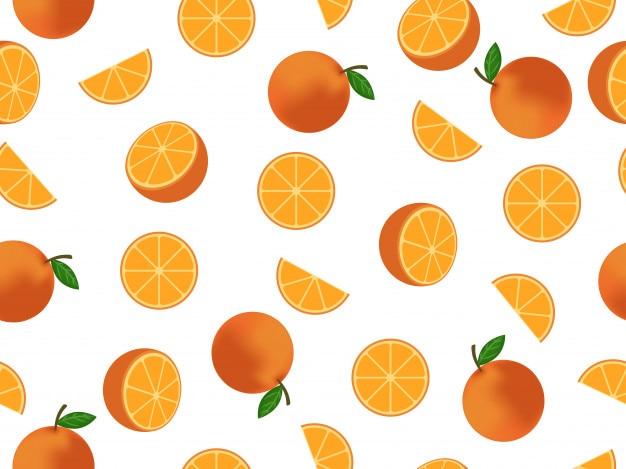 Modèle sans couture mélangé fond de fruits orange