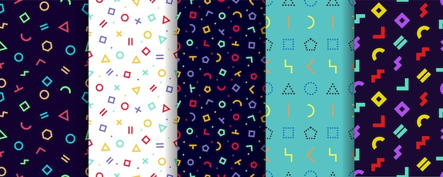 Modèle sans couture de memphis. ensemble de cinq textures géométriques. conception de papier d'emballage.