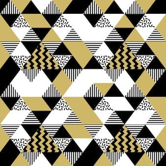 Modèle sans couture de memphis géométrique triangle modèle couleur or