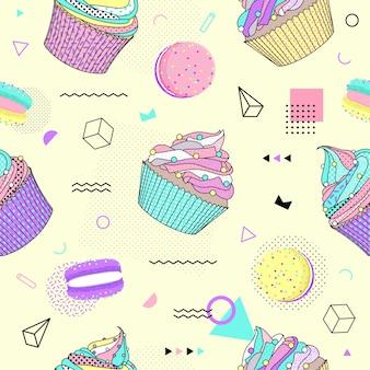 Modèle sans couture de memphis avec macaron et cupcake.