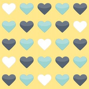 Modèle sans couture avec menthe bleue et coeurs blancs sur jaune. illustration vectorielle