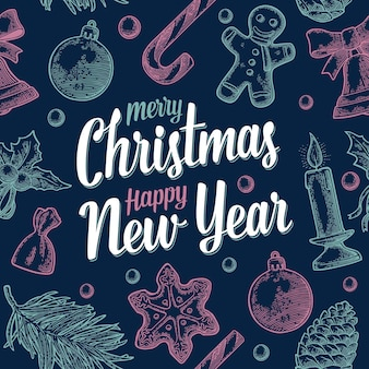Modèle sans couture merry christmas happy new year vector vintage gravure