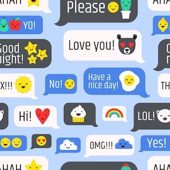 Modèle sans couture avec messages internet, communication en ligne ou messagerie instantanée sur bleu