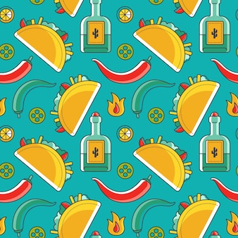Modèle sans couture mexicain avec des symboles traditionnels tels que taco et tequila