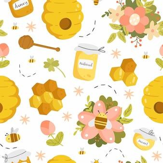 Modèle sans couture de miel avec différents objets dans un style de dessin animé mignon