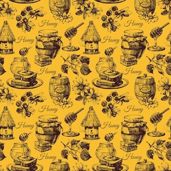 Modèle sans couture de miel avec illustration de croquis dessinés à la main