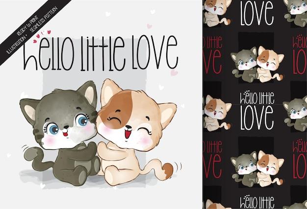 Modèle sans couture mignon animal joli bébé chaton