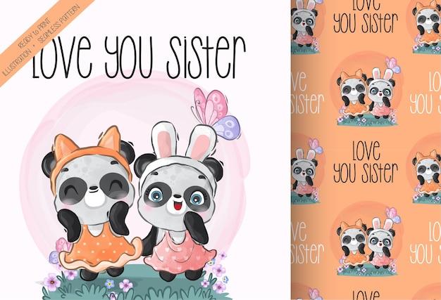 Modèle sans couture mignon animal joli bébé panda