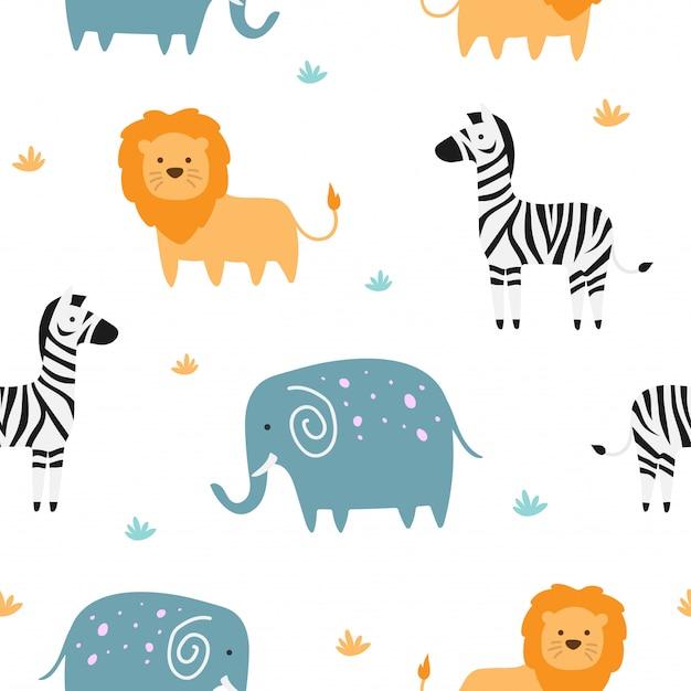 Modèle sans couture mignon d'animal de savane pour le papier peint