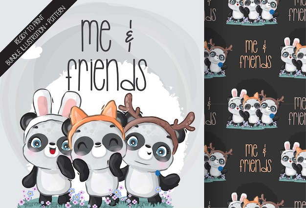 Modèle sans couture mignon bébé animal panda et ami