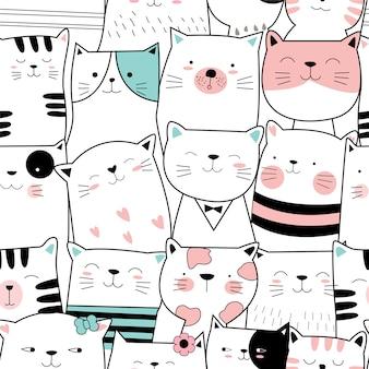 Modèle sans couture mignon bébé chat