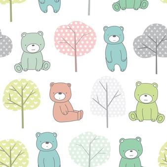 Modèle sans couture mignon bébé ours