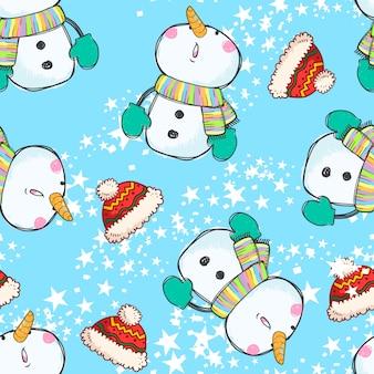 Modèle sans couture mignon bonhomme de neige