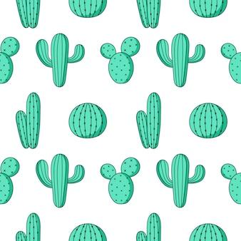 Modèle sans couture mignon cactus vert sur blanc