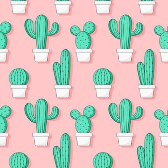 Modèle sans couture mignon cactus vert sur rose