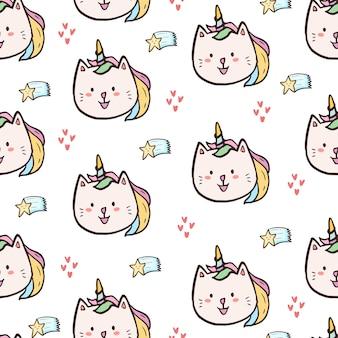 Modèle sans couture mignon caticorn kitty