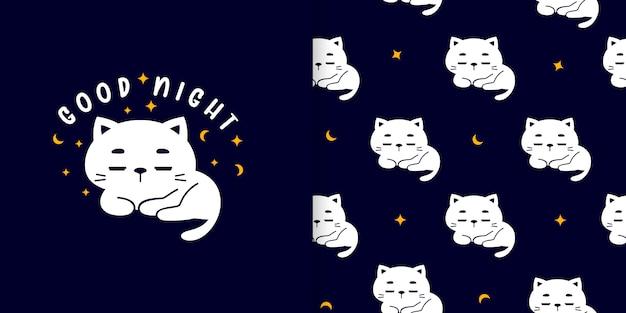 Modèle sans couture mignon chat bonne nuit avec carte