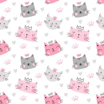 Modèle sans couture mignon chat coloré avec empreinte de coeur isolé sur fond blanc