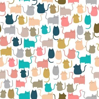 Modèle sans couture mignon chat kitty heureux chaton