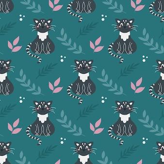 Modèle sans couture avec mignon chat noir et plantes sur fond vert foncé