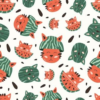 Modèle sans couture avec mignon chat rouge et pastèque