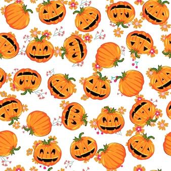 Modèle sans couture mignon citrouille halloween