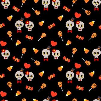 Modèle sans couture mignon de crâne et bonbons d'halloween.