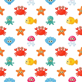 Modèle sans couture mignon dessin animé drôle de mer et océan animaux isolé