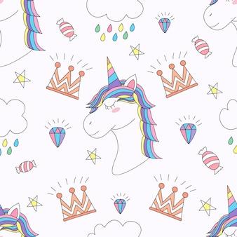 Modèle sans couture mignon dessin animé de licorne dessinés à la main.